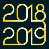 Illustration de vecteur avec la transition 2018-2019 de nouvelle année illustration libre de droits