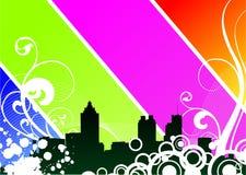 Illustration de vecteur avec la ville sur le fond d'éclat Photo stock