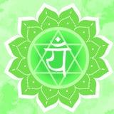 Illustration de vecteur avec le chakra Anahata de symbole sur le fond abstrait Modèle et main de mandala de cercle illustration de vecteur