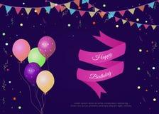 Illustration de vecteur avec le joyeux anniversaire de fanions, de confettis, de ballons, de ruban et de textes illustration libre de droits