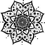 Illustration de vecteur avec le mandala comme une fleur Dessin noir sur le fond blanc illustration de vecteur