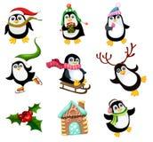Illustration de vecteur avec les pingouins mignons de Noël images stock