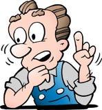 Illustration de vecteur de bande dessinée d'un travailleur supérieur plus âgé photos stock