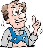 Illustration de vecteur de bande dessinée d'un travailleur supérieur plus âgé photographie stock