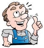 Illustration de vecteur de bande dessinée d'un travailleur supérieur plus âgé photos libres de droits