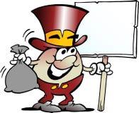 Illustration de vecteur de bande dessinée d'une mascotte d'or heureuse d'oeufs tenant un grand signe Photographie stock