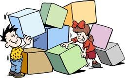 Illustration de vecteur de bande dessinée des enfants heureux construisant avec de grandes briques illustration libre de droits