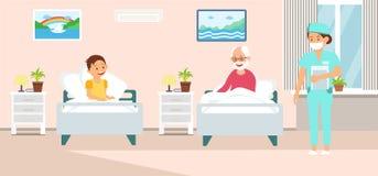 Illustration de vecteur de bande dessinée de traitement d'hospitalisé illustration stock