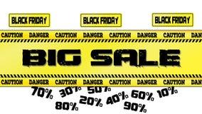 Illustration de vecteur de bannière de vente de Black Friday d'un panneau routier et des rubans jaunes Photos stock