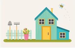 Illustration de vecteur de belle maison bleue illustration stock