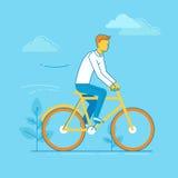 Illustration de vecteur - bicyclette d'équitation d'homme Images libres de droits