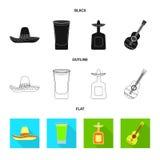 Illustration de vecteur de café et de signe latin Placez du café et de l'icône nationale de vecteur pour des actions illustration stock