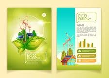 Illustration de vecteur de calibre de brochure d'énergie d'Eco pour le concept vert de conservation de la nature illustration stock