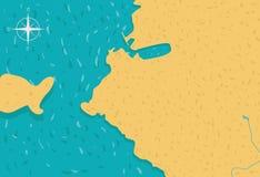 Illustration de vecteur de calibre de carte d'île de bande dessinée illustration stock