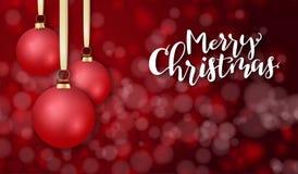 Illustration de vecteur de calibre de salutation de bannière avec le label de lettrage de main - Joyeux Noël - avec accrocher réa illustration de vecteur