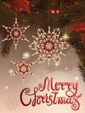 Illustration de vecteur de calibre de salutation de bannière avec le label de lettrage de main - Joyeux Noël - avec des perles, b illustration stock