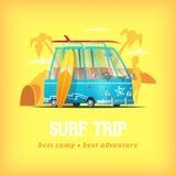 Illustration de vecteur de camp de ressac Surfez l'autobus sur un fond de fille de Palm Beach tenant une planche de surf et une t Photographie stock libre de droits