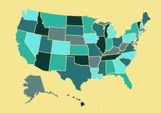 Illustration de vecteur de carte des Etats-Unis photographie stock libre de droits