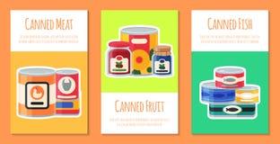 Illustration de vecteur de cartes de nourriture en boîte Emballage bidon par produit ? base de l?gumes en m?tal de conteneur La s illustration libre de droits