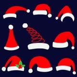 Illustration de vecteur de chapeau de Noël de Santa Ensemble rouge de chapeau supérieur de Santa Images stock