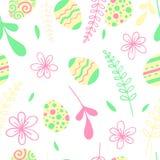 Illustration de vecteur de chasse à oeufs Modèle sans couture de Pâques avec des fleurs illustration stock