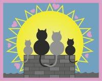 Illustration de vecteur Chats dans l'amour sur le toit avec leur chaton Saint Valentin, tout le jour de coeurs ou amour illustration de vecteur