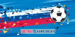 Illustration de vecteur de concept de championnat du football Ballon de football de vol avec la trace russe de vitesse de drapeau illustration de vecteur