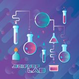 Illustration de vecteur Concept de laboratoire de la Science avec les flacons plats Photo stock