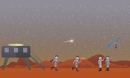 Illustration de vecteur de concept de mission de Mars dans le style plat Photos stock