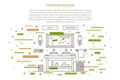 Illustration de vecteur de conception intérieure de salle de bains illustration stock