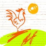 Illustration de vecteur Coq dans le pré, la hausse du soleil de matin Photo stock