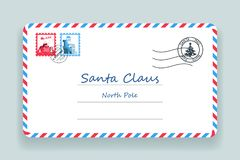 Illustration de vecteur de courrier de Santa Claus Christmas Mailing Address Letter Image libre de droits