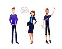 Illustration de VECTEUR d'équipe d'affaires, caractères réglés : Homme d'affaires, femme d'affaires, concepteur illustration de vecteur