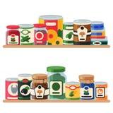 Illustration de vecteur d'étagère de nourriture en boîte Emballage bidon par produit ? base de l?gumes en m?tal de conteneur La s illustration de vecteur
