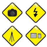 Illustration de vecteur d'étiquette de jaune de connexion de photographie Photographie stock libre de droits