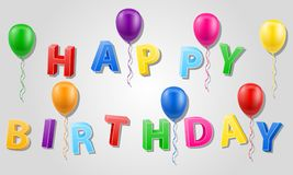 Illustration de vecteur d'actions des textes 3d d'inscription de joyeux anniversaire Image libre de droits