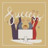 Illustration de vecteur d'affaires avec le succès de mot de lettrage d'écriture de personnes d'ofice Images stock