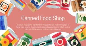 Illustration de vecteur d'affiche de nourriture en boîte Emballage bidon par produit à base de légumes en métal de conteneur La s illustration de vecteur