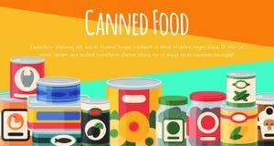Illustration de vecteur d'affiche de nourriture en bo?te Emballage bidon par produit ? base de l?gumes en m?tal de conteneur La s illustration libre de droits