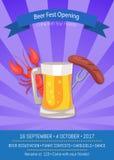 Illustration de vecteur d'affiche d'ouverture de Fest de bière Photos stock