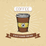 Illustration de vecteur d'aliments de préparation rapide de café dans le style de vintage, montrant la boisson avec l'inscription illustration libre de droits