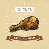 Illustration de vecteur d'aliments de préparation rapide de jambe de poulet dans le style de vintage, avec l'inscription, illustration libre de droits