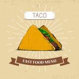 Illustration de vecteur d'aliments de préparation rapide de Taco dans le style de vintage, montrant le repas avec l'inscription, illustration de vecteur