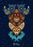 Illustration de vecteur d'animal sauvage de totem rhinocéros Images libres de droits
