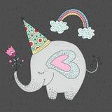 Illustration de vecteur d'anniversaire avec l'éléphant mignon de bande dessinée illustration libre de droits