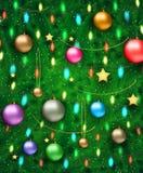 Illustration de vecteur d'arbre de Noël décoré illustration stock