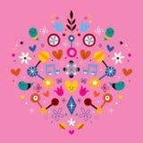 Illustration de vecteur d'art abstrait de coeur d'harmonie d'amour de nature Photos libres de droits