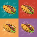 Illustration de vecteur d'art de bruit de hot-dog Fond de bande dessinée d'aliments de préparation rapide Images libres de droits