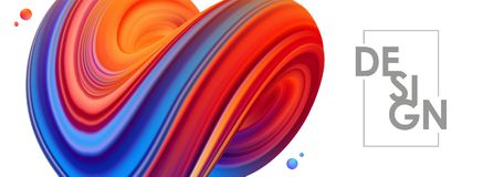 Illustration de vecteur : 3D bleu et rouge ont coloré la forme de fluide tordue par résumé sur le fond blanc Conception à la mode Images libres de droits