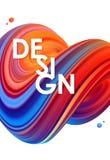 Illustration de vecteur : 3D bleu et rouge ont coloré la forme de fluide tordue par résumé sur le fond blanc conception à la mode Image libre de droits
